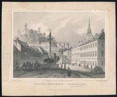Cca 1850 Ludwig Rohbock (1820-1883): Pozsony, Hal Tér, Acélmetszet, Jelzett A Metszeten, Szélén Foltos / Steel Engraving - Incisioni