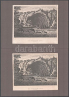Cca 1800 A Szerémségi Barlangok 4 Db Rézmetszet Kartonon 17x15 Cm - Gravures