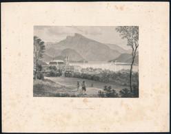 Cca 1840-1850 Mondsee Városának Látképe A Szent-Mihály Bazilikával, Háttérben A Tóval és Hegyekkel. Acélmetszet, Papír,  - Gravures