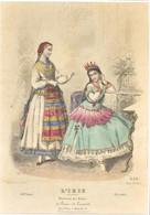 Cca 1850 Francia Divat Metszet. Színezett Acélmetszet. Üvegezett Keretben. 35x28 Cm - Gravures