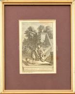 Jan Punt (1711 - 1779): Le Jardinier Et Son Seigneur, La Fontaine Illusztráció, Rézmetszet, Paszpartuban, üvegezett Fa K - Gravures