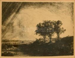 Rembrandt Van Rijn (1606-1669) Után, XIX. Sz.: Flamand Táj. Heliogravűr, Papír. Jelzés Nélkül. Üvegezett Fa Keretben, Ke - Gravures