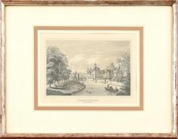 Cca. 1870 Nürnberg Insel Schütt (Schütt-sziget), Alex Marx. Acélmetszet, Papír. Üvegezett Fa Keretben. Szép állapotban,  - Gravures