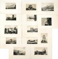 Cca 1860-1880 13 Db Acélmetszetű Illusztráció Különféle Helyszínekről, Közte ókori Romokkal Is, 14x20 Cm és 10x15 Cm Köz - Gravures
