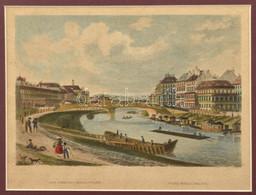 Cca 1850 A Régi Ferdinand-híd (Ferdinandsbrücke) Bécsben. Kézzel Színezett Acélmetszet, Papír, Jelzés Nélkül, Paszpartub - Gravures