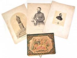 1858-1860 4 Db Metszet és Litográfia: Vásárosnaményi Báró Eötvös József, Vizkelety Béla, József Főherceg-nádor Emlékszob - Gravures
