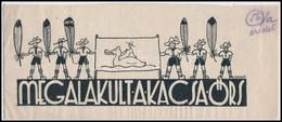 Czakó Jelzéssel: Megalakult A Kacsa őrs. Cserkész Grafika.Tus, Papír. Jelzett. 10x23 Cm - Scoutisme