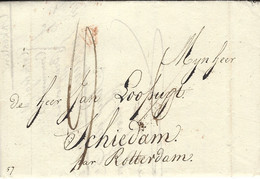 """3-8-1814- Lettre De Paris Pour Schiedam """" Par Rotterdam""""  Aux Pays Bas -au Dos,entrée BREDA Rouge - 1801-1848: Précurseurs XIX"""
