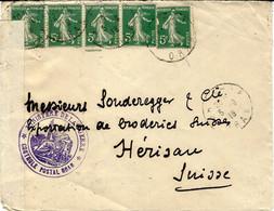 """1916- Env. D'ORAN ( Algérie ) Affr. Bande De 5 Semeuse 5 C Vert  + Censure """" CONTROLE POSTAL ORAN """" Pour Herisau  Suisse - Guerra Del 1914-18"""