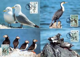 1989, Ile De Man, Espèces D'oiseaux En Danger D'extinction - WWF, YT 408 - 411, Carte Maximales, Lot 46540 - Isola Di Man