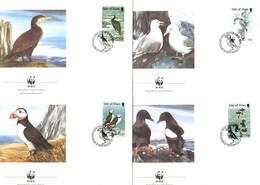 1989, Ile De Man, Espèces D'oiseaux En Danger D'extinction - WWF, YT 408 - 411, FDC's, Lot 46541 - Isola Di Man