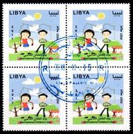 Libye; 2015;  Journée De L'Enfants, Bloc Of 4 TP's, Obllitéré, Lot 50740 - Libye