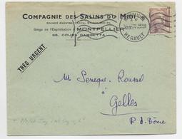 GANDON 4FR VIOLET SEUL LETTRE MONTPELLIER 30.IX.1947 TARIF IMPRIME - 1945-54 Marianna Di Gandon