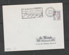 Flamme Dpt 31 : CAZERES SUR GARONNE (SCOTEM N°  1667 émise 1965) : Climat - Santé - Vacances - Foies Gras (I Non Codée) - Mechanical Postmarks (Advertisement)
