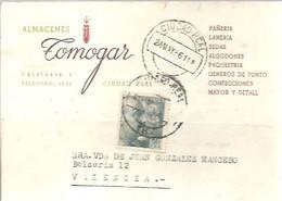 TARJETA  POSTAL COMERCIAL  CIUDAD REAL 1956  TIMBRE MOVIL - 1951-60 Cartas