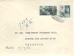 CARTA 1953  CERTIFICADA VALENCIA - 1951-60 Cartas