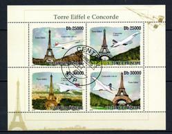 W2-24 Sao Tome Et Principe Bloc Oblitéré Thématique Eiffel E Concorde  A Saisir  !!! - Sao Tomé E Principe