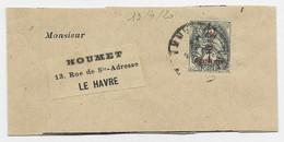 BLANC 1/2C N° 157 SEUL PETITE BANDE COMPLETE 13.4.1920 AU TARIF PEU COMMUN - 1900-29 Blanc