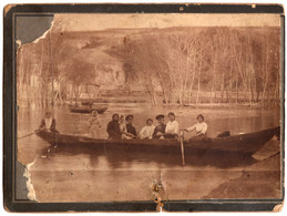 1900s Original 15x11cm Old Photo Photography Vintage Child Woman Girl Man Boat Fashion Russia Empire (1644) - Oud (voor 1900)