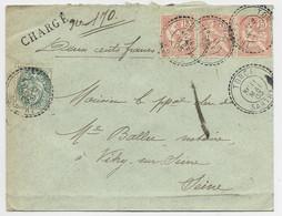 N°111+125X3 LETTRE CHARGE 200FR  FACTEUR BOITIER TORCE 11 MAI 1903 SARTHE - 1877-1920: Période Semi Moderne