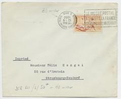 SURTAXE 5FR ORANGE SEUL LETTRE MEC LE MUSEE POSTAL STRASBOURG QUAI DE PARIS 12.8.1950 B. RHIN COURONNE INVERSEE - Mechanical Postmarks (Advertisement)