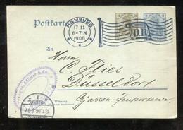 """Deutsches Reich - 1906 - Postkarte """"Germania"""" Flaggenstempel """"HAMBURG D.R."""" (1796) - Ganzsachen"""