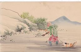 CHINE 3 Cartes Decoupage Et Collage De Timbres ,2 Sur Cartes Postales,1 Sur Carton - China