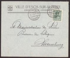 Facture / Enveloppe Ancienne ESCH SUR ALZETTE Luxembourg  VILLE D'ESCH  1924 - Luxemburgo