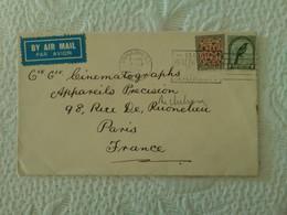 ENVELOPPE Nouvelle Zélande New Zealand DUNEDIN 1938 Cie Gle Cinemathographe Marcophilie Timbres Cinema - Covers & Documents