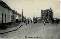 Chapelle-lez-Herlaimont La Rue De La Station Circulée En 1909 Avec Tramway - Chapelle-lez-Herlaimont