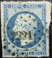 N°14Aa. Napoléon 20c Bleu Roi Sur Papier Azuré, Bleuté (nuancier N°25). Oblitéré Losange P.C. N°2221 Nantes - 1862 Napoleone III