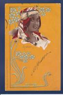 CPA Avec Paillettes En Relief Circulé Femme Woman Arabien Art Nouveau - Mujeres