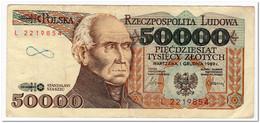 POLAND,50 000 ZLOTYCH,1989,P.153,F-VF,GRAFITI - Polonia