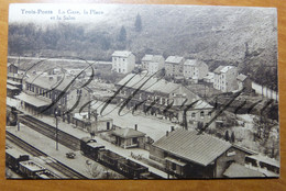 Trois-Ponts La Gare La Place Et La Salm. Station. Chemin De Fer. - Trois-Ponts