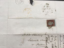 GB Victoria 1854 Wrapper London To Preston Tied With 1d Red Imperf - Covers & Documents