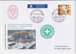 Michel 2230 Auf Brief FESTIVAL INTERNATIONAL DE BALLONS - CHATEAU D'OEX 2012 - Primi Voli