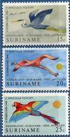 Suriname 1971 Birds Comm Spec.air Connect Netherlands 25 Yr 3 Val MNH 2007.1922 Blue Heron, American Flamingo, Ara Macao - Flamingo