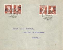 Lokaler Brief  Zürich  (Kehrdruck Frankatur)            1921 - Cartas