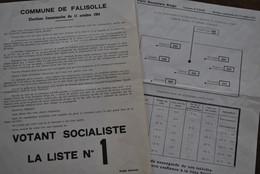 RARE 2 Feuilles électorales Elections Communales Commune De Falisolle 11 Octobre 1964 Socialiste Liste 1 Piefort Editeur - Documenti Storici