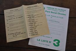 RARE 2 Feuilles électorales Elections Communales Commune De Falisolle 11 Octobre 1964 PSC Lacroix-Chapeau Flemal Marcel - Documenti Storici