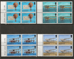 Jersey 1973 Airplanes Set Mint MH Blocks Of 4 - Jersey