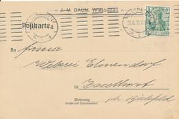 WIESBADEN    -  1911  ,  Lochung , Perfin  -  Karte  J.M. Baum - Lettres
