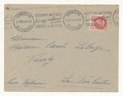 """Oblitération """"SECOURS NATIONAL VANNES RP Barrage National Contre La Misère"""" Sur Lettre 25 VII 41 Pour La Turbale - WW II"""