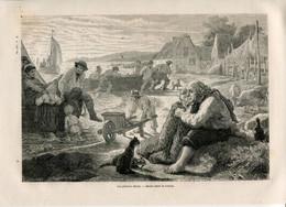 1862 Print Denmark Fisherman Fishing Net Boat Cat - Prints & Engravings