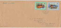Tuvalu Cover Overprinted OFFICIAL Sent Air Mail To Denmark 6-9-1982 Topic Stamps FISH - Tuvalu