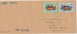 Tuvalu Cover Overprinted OFFICIAL Sent Air Mail To Denmark 1982 ?? Topic Stamps FISH - Tuvalu