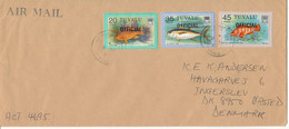 Tuvalu Cover Overprinted OFFICIAL Sent Air Mail To Denmark 1984 ?? Topic Stamps FISH - Tuvalu