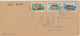 Tuvalu Cover Overprinted OFFICIAL Sent Air Mail To Denmark 9-5-1982 Topic Stamps FISH - Tuvalu