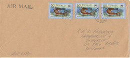 Tuvalu Cover Overprinted OFFICIAL Sent Air Mail To Denmark 17-2-1983 Topic Stamps FISH - Tuvalu