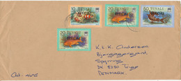 Tuvalu Cover Overprinted OFFICIAL Sent To Denmark Topic Stamps FISH - Tuvalu